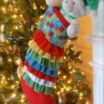 Ruffled knit Christmas stocking