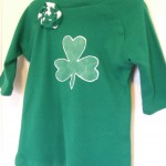 St. Patrick's Day shirt with freezer paper stencil and fabric rosette