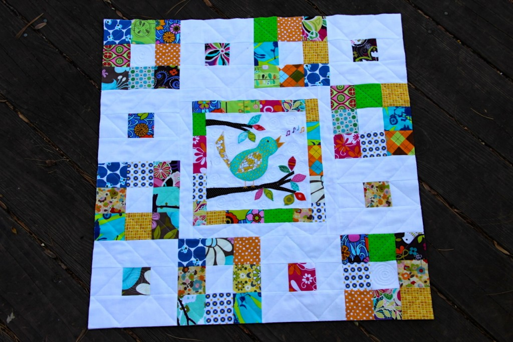 Patchwork and birds mini quilt