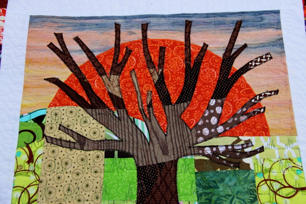 Tree in the Sunset mini quilt: close up