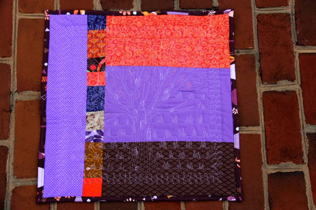Tree in the Sunset mini quilt: back