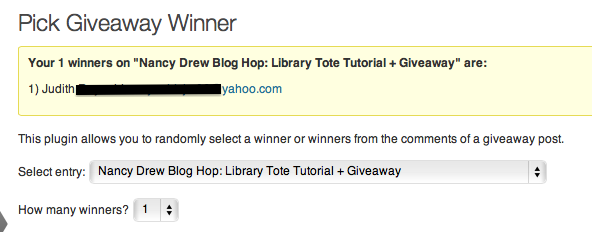 Nancy Drew Giveaway winner