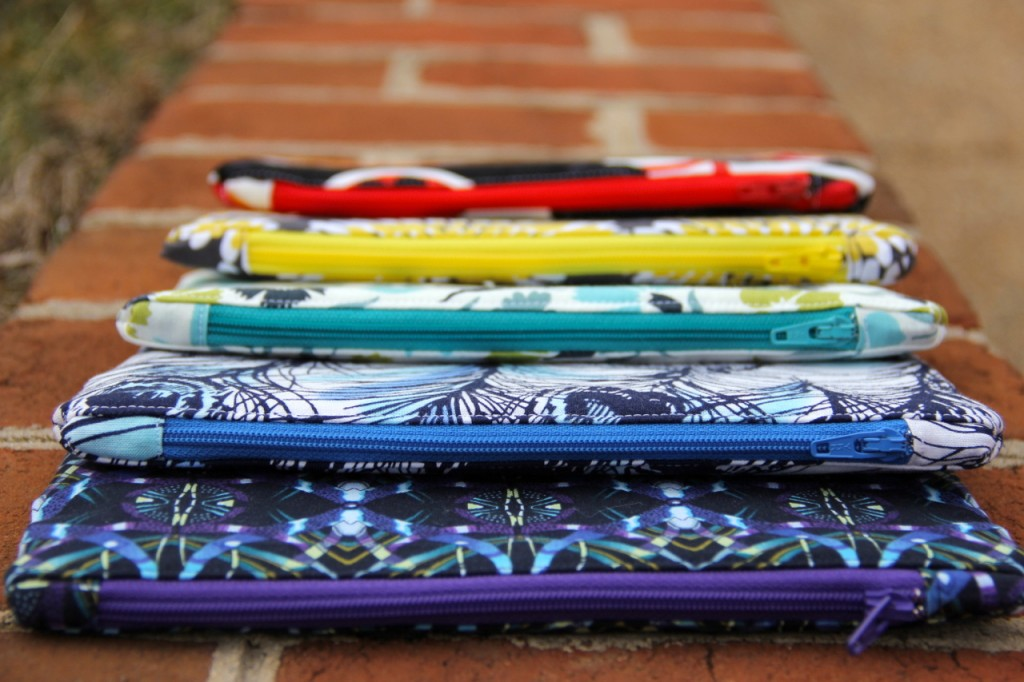 Five zippered pouches