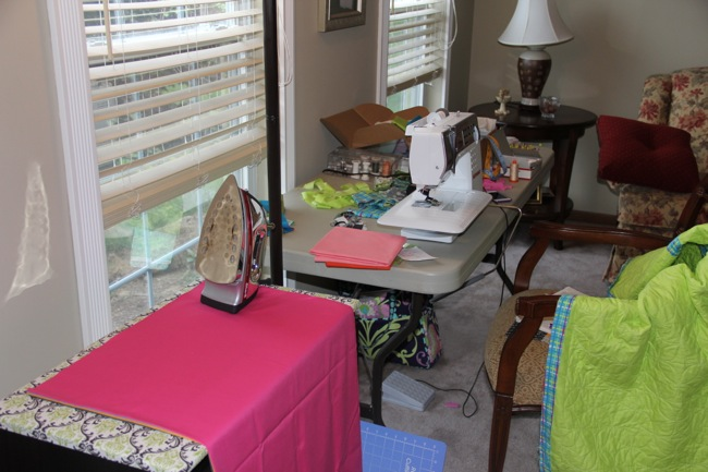 Temporary sewing space